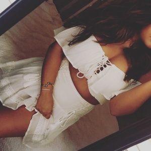 ✨White lace skirt set
